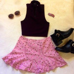 Floral Pink Flowy Skirt